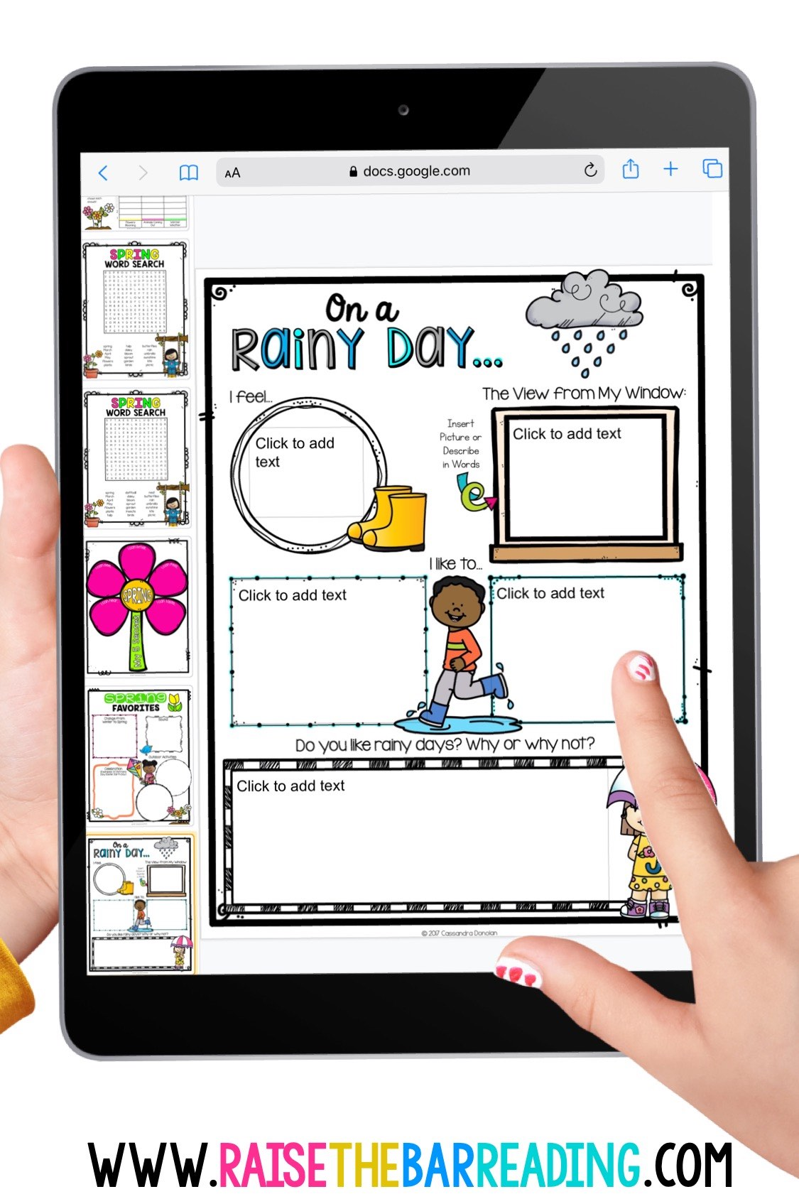 digital spring graphic organizers